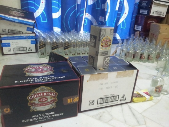 Counterfeit Bottles of Johnny Walker Black label Chivas Regal Whisky