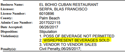 el-bohio-cuban-restaurant-Florida-liquor-violation