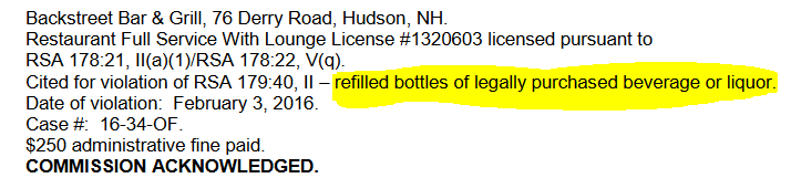 cited for refilling violation