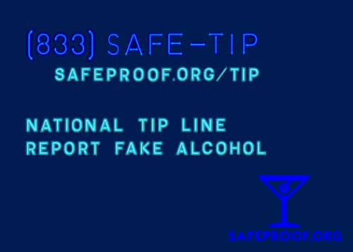 National Fake Alcohol Tip Line 833-SAFE-TIP