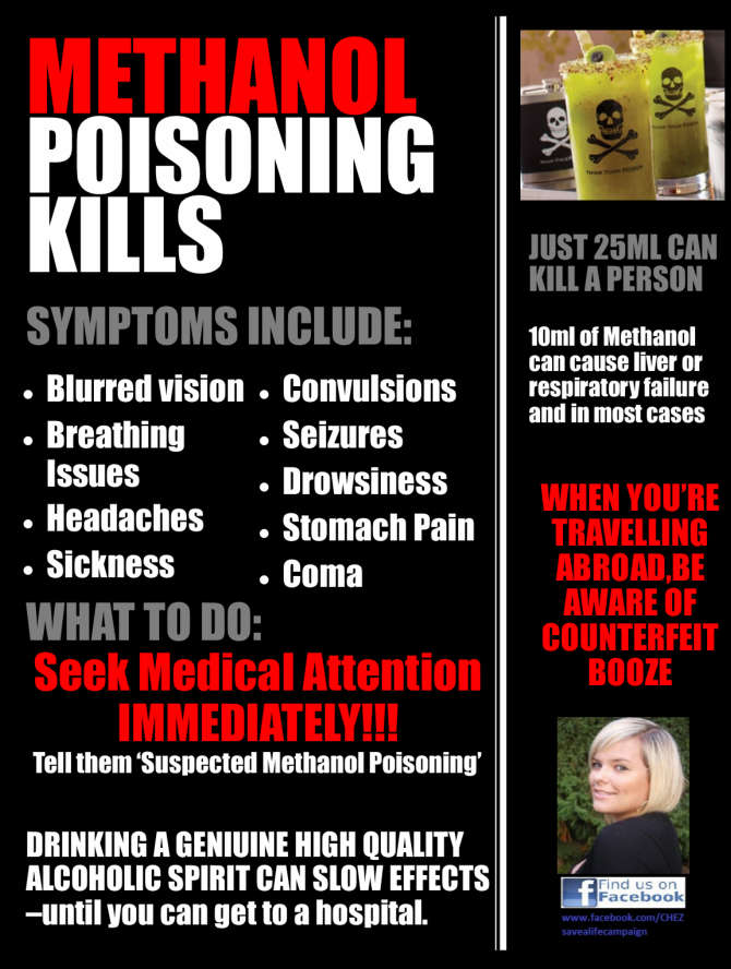 Methanol Poisoning Kills Awareness
