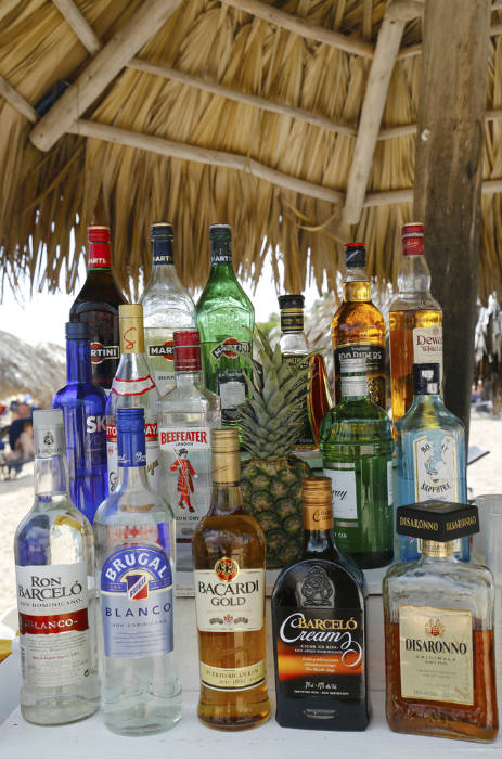Liquor Bottles Beach Bar DR