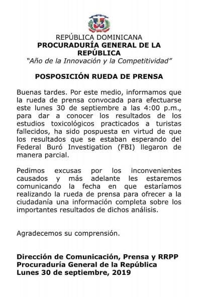 Dominican Republic Statement on Tourist Deaths